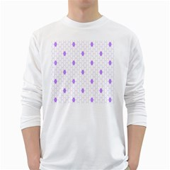 Purple White Hexagon Dots White Long Sleeve T-shirts
