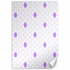 Purple White Hexagon Dots Canvas 12  X 18   by Mariart