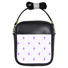 Purple White Hexagon Dots Girls Sling Bags by Mariart