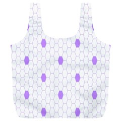 Purple White Hexagon Dots Full Print Recycle Bags (l)  by Mariart