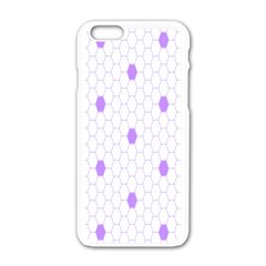 Purple White Hexagon Dots Apple Iphone 6/6s White Enamel Case by Mariart
