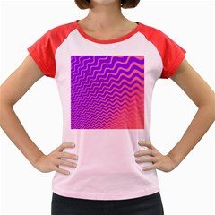 Original Resolution Wave Waves Chevron Pink Purple Women s Cap Sleeve T-shirt by Mariart