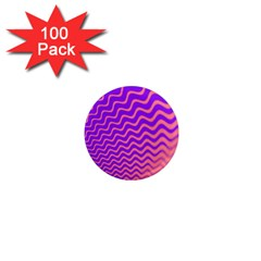 Original Resolution Wave Waves Chevron Pink Purple 1  Mini Magnets (100 Pack)