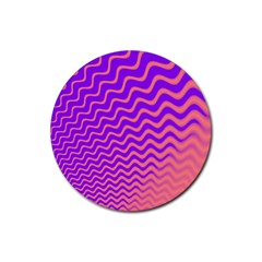 Original Resolution Wave Waves Chevron Pink Purple Rubber Round Coaster (4 Pack)  by Mariart