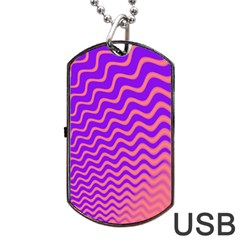 Original Resolution Wave Waves Chevron Pink Purple Dog Tag Usb Flash (two Sides) by Mariart