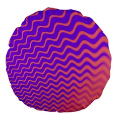 Original Resolution Wave Waves Chevron Pink Purple Large 18  Premium Round Cushions by Mariart