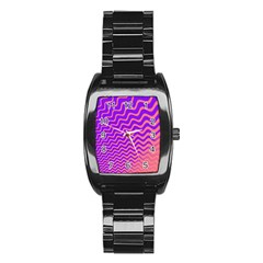 Original Resolution Wave Waves Chevron Pink Purple Stainless Steel Barrel Watch by Mariart