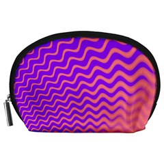 Original Resolution Wave Waves Chevron Pink Purple Accessory Pouches (large)  by Mariart