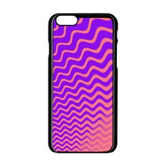 Original Resolution Wave Waves Chevron Pink Purple Apple Iphone 6/6s Black Enamel Case by Mariart