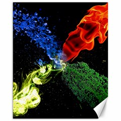 Perfect Amoled Screens Fire Water Leaf Sun Canvas 16  X 20