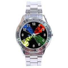 Perfect Amoled Screens Fire Water Leaf Sun Stainless Steel Analogue Watch by Mariart