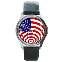 Star Line Hole Red Blue Round Metal Watch by Mariart