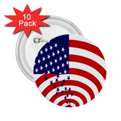 Star Line Hole Red Blue 2 25  Buttons (10 Pack)