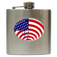 Star Line Hole Red Blue Hip Flask (6 Oz)