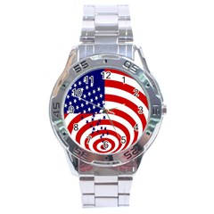 Star Line Hole Red Blue Stainless Steel Analogue Watch