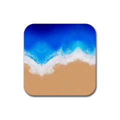 Sand Beach Water Sea Blue Brown Waves Wave Rubber Square Coaster (4 Pack)  by Mariart