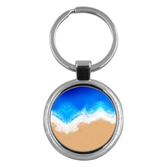 Sand Beach Water Sea Blue Brown Waves Wave Key Chains (round)  by Mariart