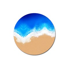 Sand Beach Water Sea Blue Brown Waves Wave Magnet 3  (round) by Mariart