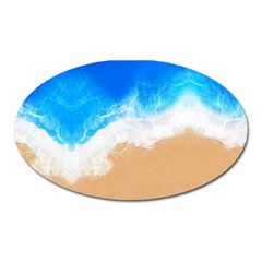 Sand Beach Water Sea Blue Brown Waves Wave Oval Magnet by Mariart