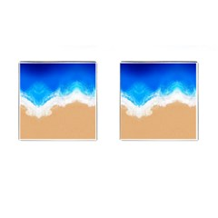 Sand Beach Water Sea Blue Brown Waves Wave Cufflinks (square) by Mariart