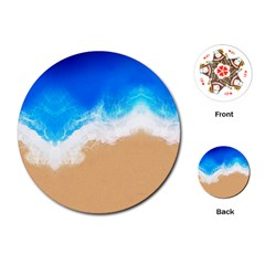 Sand Beach Water Sea Blue Brown Waves Wave Playing Cards (round)