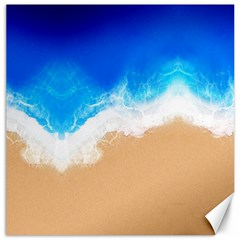 Sand Beach Water Sea Blue Brown Waves Wave Canvas 20  X 20   by Mariart