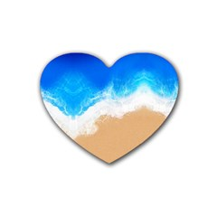 Sand Beach Water Sea Blue Brown Waves Wave Rubber Coaster (heart)  by Mariart