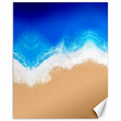 Sand Beach Water Sea Blue Brown Waves Wave Canvas 11  X 14   by Mariart