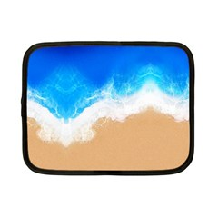 Sand Beach Water Sea Blue Brown Waves Wave Netbook Case (small)  by Mariart