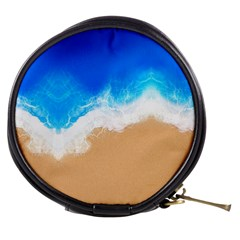 Sand Beach Water Sea Blue Brown Waves Wave Mini Makeup Bags by Mariart