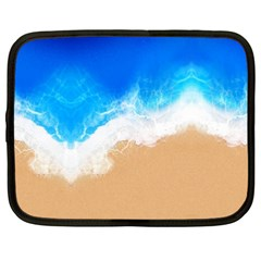 Sand Beach Water Sea Blue Brown Waves Wave Netbook Case (xxl)  by Mariart