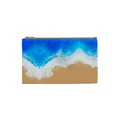 Sand Beach Water Sea Blue Brown Waves Wave Cosmetic Bag (small)  by Mariart