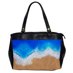Sand Beach Water Sea Blue Brown Waves Wave Office Handbags by Mariart