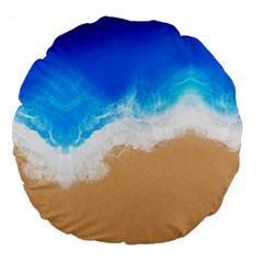 Sand Beach Water Sea Blue Brown Waves Wave Large 18  Premium Round Cushions by Mariart