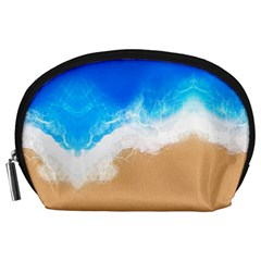 Sand Beach Water Sea Blue Brown Waves Wave Accessory Pouches (large)  by Mariart