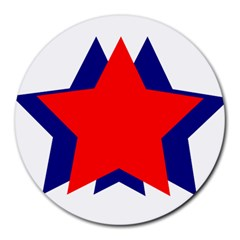 Stars Red Blue Round Mousepads by Mariart