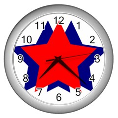 Stars Red Blue Wall Clocks (silver)  by Mariart