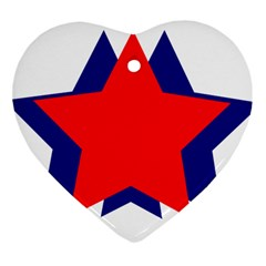 Stars Red Blue Heart Ornament (two Sides) by Mariart