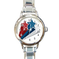 Star Red Blue White Line Space Round Italian Charm Watch by Mariart