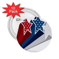 Star Red Blue White Line Space 2 25  Buttons (10 Pack)