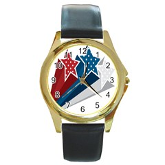Star Red Blue White Line Space Round Gold Metal Watch