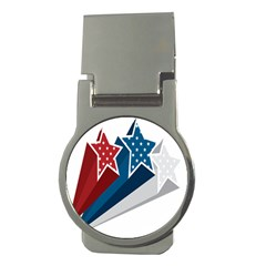 Star Red Blue White Line Space Money Clips (round)  by Mariart