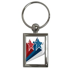 Star Red Blue White Line Space Key Chains (rectangle)  by Mariart