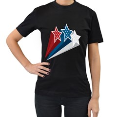 Star Red Blue White Line Space Women s T Shirt (black) (two Sided)