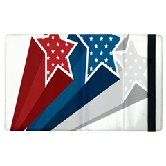 Star Red Blue White Line Space Apple Ipad 2 Flip Case by Mariart