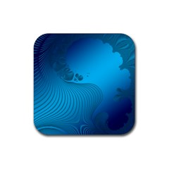 Fractals Lines Wave Pattern Rubber Square Coaster (4 Pack)