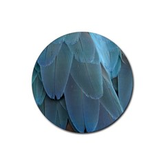 Feather Plumage Blue Parrot Rubber Coaster (round)  by Nexatart