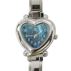 Feather Plumage Blue Parrot Heart Italian Charm Watch by Nexatart