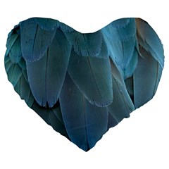 Feather Plumage Blue Parrot Large 19  Premium Heart Shape Cushions by Nexatart