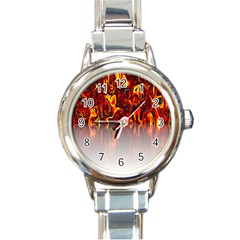 Effect Pattern Brush Red Orange Round Italian Charm Watch by Nexatart